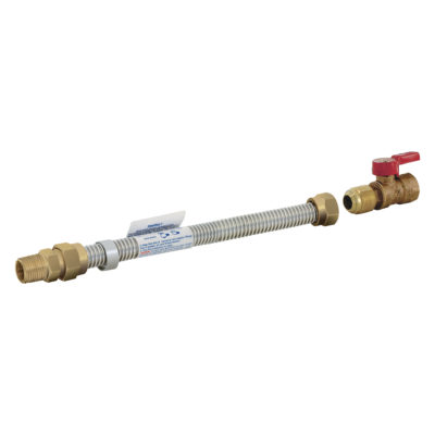 """1/2"""" MIP x 1/2"""" FIP Stainless Steel Gas Connector 1/2"""" OD"""