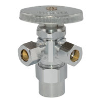 "1/2"" CPVC x 3/8"" OD Comp. x 3/8"" OD Comp. Multi-Turn Dual Outlet Stop Valve"