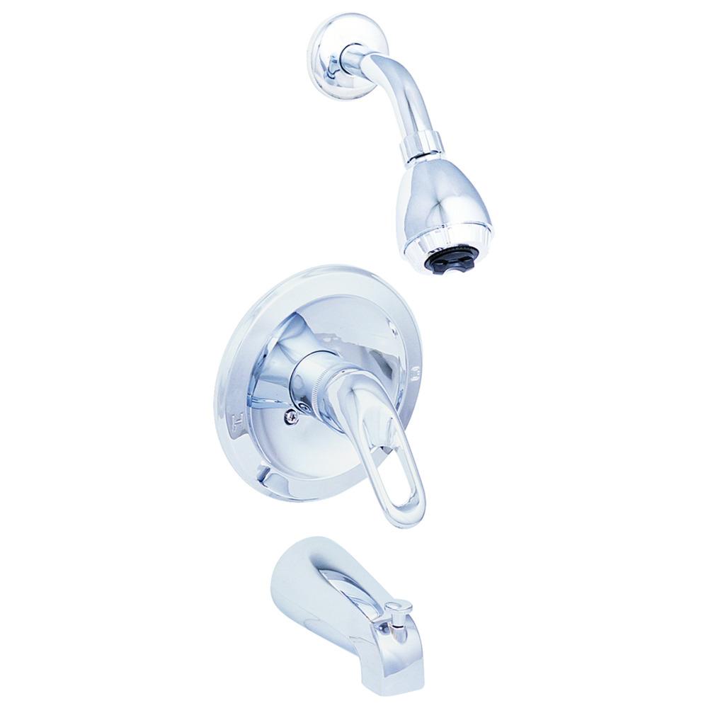 Ez Flo Chrome 1 Loop Handle Tub And Shower Faucet Set Traditional