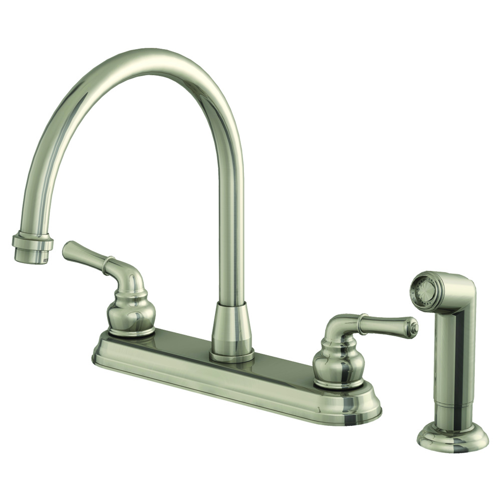 Brushed Nickel Two-Handle Kitchen Faucet with Spray