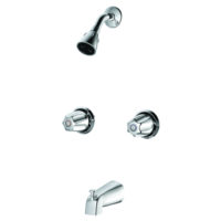 EZ-FLO Chrome Washerless Tub and Shower Faucet Set - Basic-N-Brass