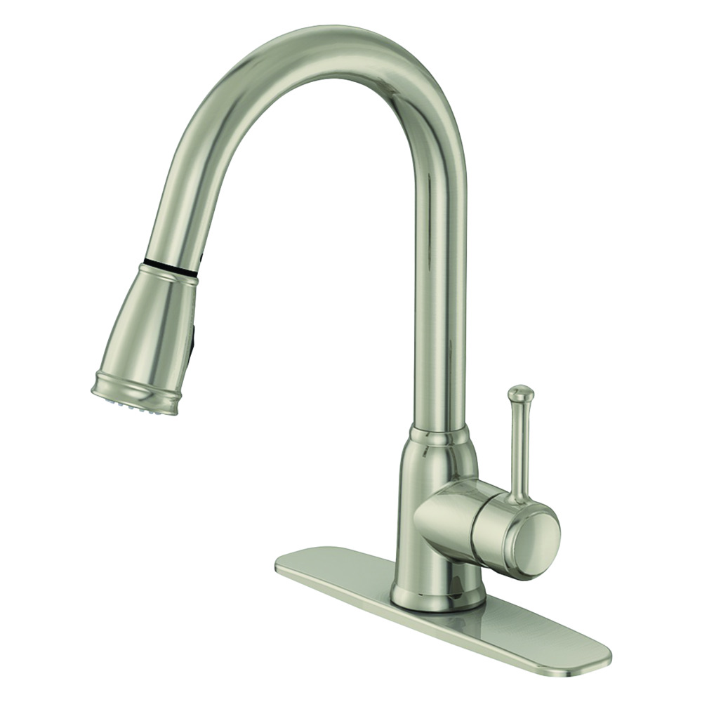 EZ-FLO Brushed Nickel High-Arc Kitchen Faucet with Wide Spray Head - Metro  Collection