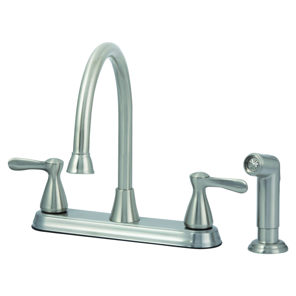 EZ-FLO Brushed Nickel High-Arc Kitchen Faucet with Side Sprayer - Tuscany