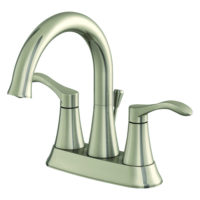 EZ-FLO Brushed Nickel Swan-Like Center Set Bathroom Sink Faucet - Sterling