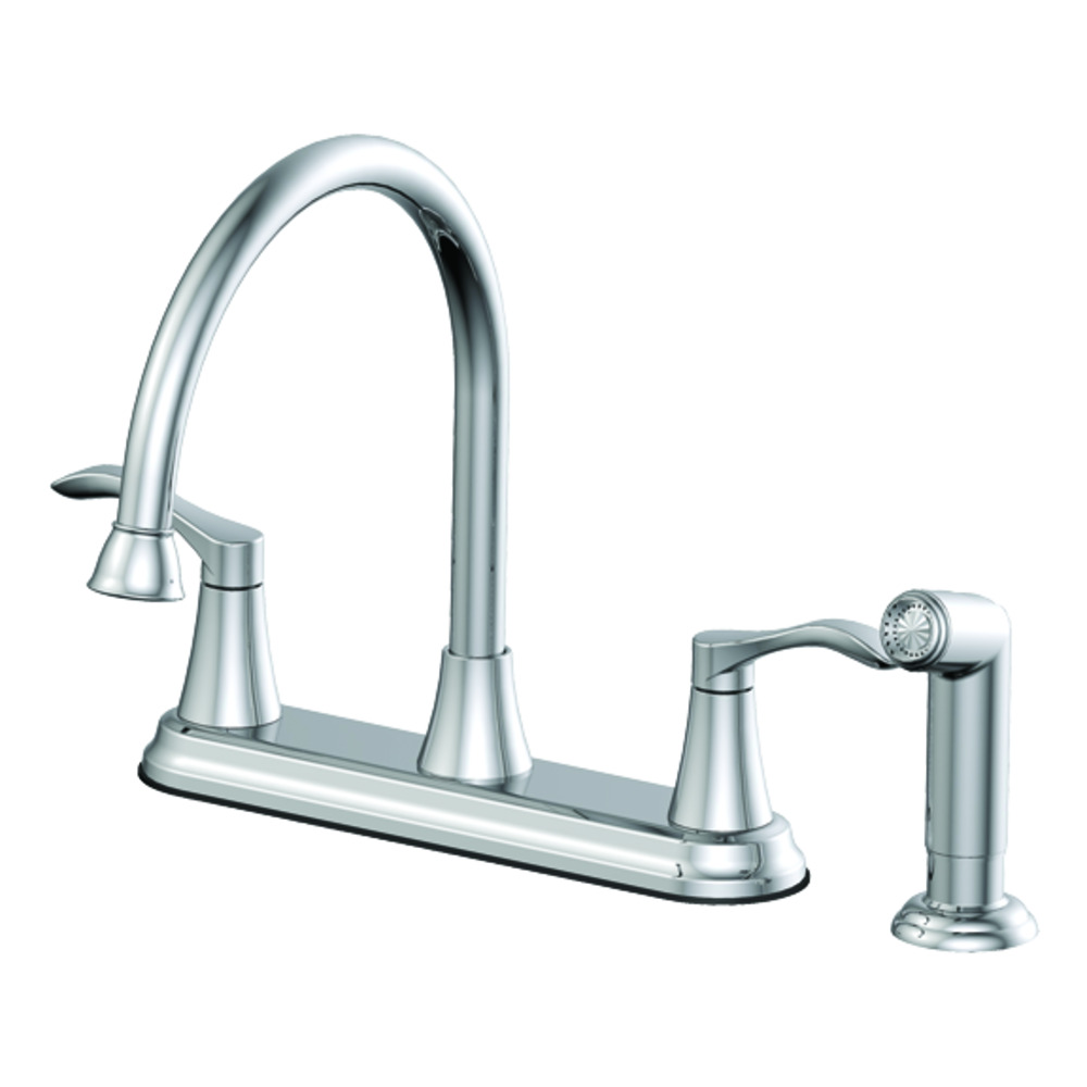 Two Handle Kitchen Faucet With Matching Side Spray Chrome