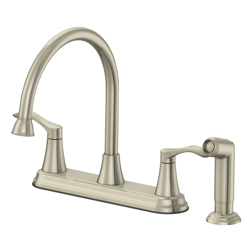 Two Handle Kitchen Faucet With Matching Side Spray Brushed Nickel