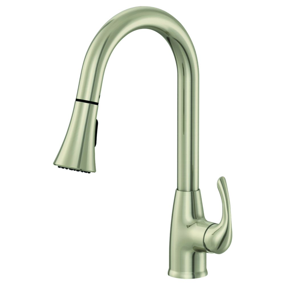 Brushed Nickel High-Arc Kitchen Faucet with Wide Head Sprayer - Sterling