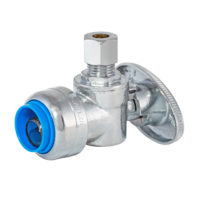 "5/8"" OD Push Fit x 1/4"" OD Comp. ¼ Turn Angle Stop Valve"