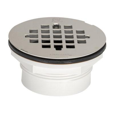 No-Caulk Shower Drain - Stainless Grid