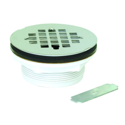 No-Caulk Shower Drain With Wrench - PVC - Stainless Grid