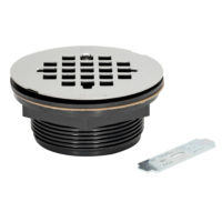 No-Caulk Shower Drain With Wrench - ABS - Stainless Grid
