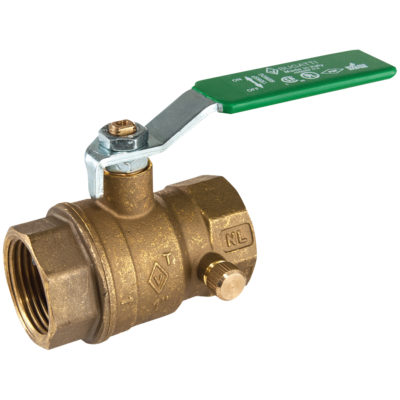 "3/4"" IPS Brass Ball Valve With Drain"
