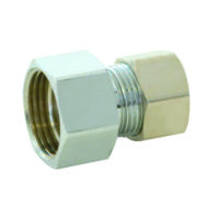 "1/2"" Female Comp. x 3/8"" OD Tube Chrome Plated Adapter"