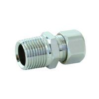 "3/8"" OD x 1/2"" MIP Chrome Plated Connector"