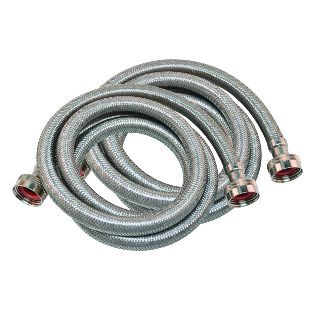 6' Braided Stainless Steel Washing Machine Connector - 1 Pair