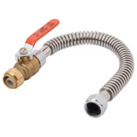 18 In. Sharkbite® Stainless Steel Corrugated Water Heater Connector with 3/4 In. Push-Fit Ball Valve x 3/4 In. FIP