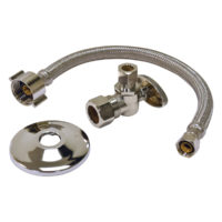 "3/8"" FIP x 7/8"" Ballcock Nut x 12"" Length Braided Stainless Steel Toilet Connector Installation Kit"
