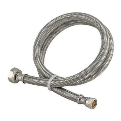 """3/8"""" Comp. x 1/2"""" FIP Braided Stainless Steel Faucet Connector"""
