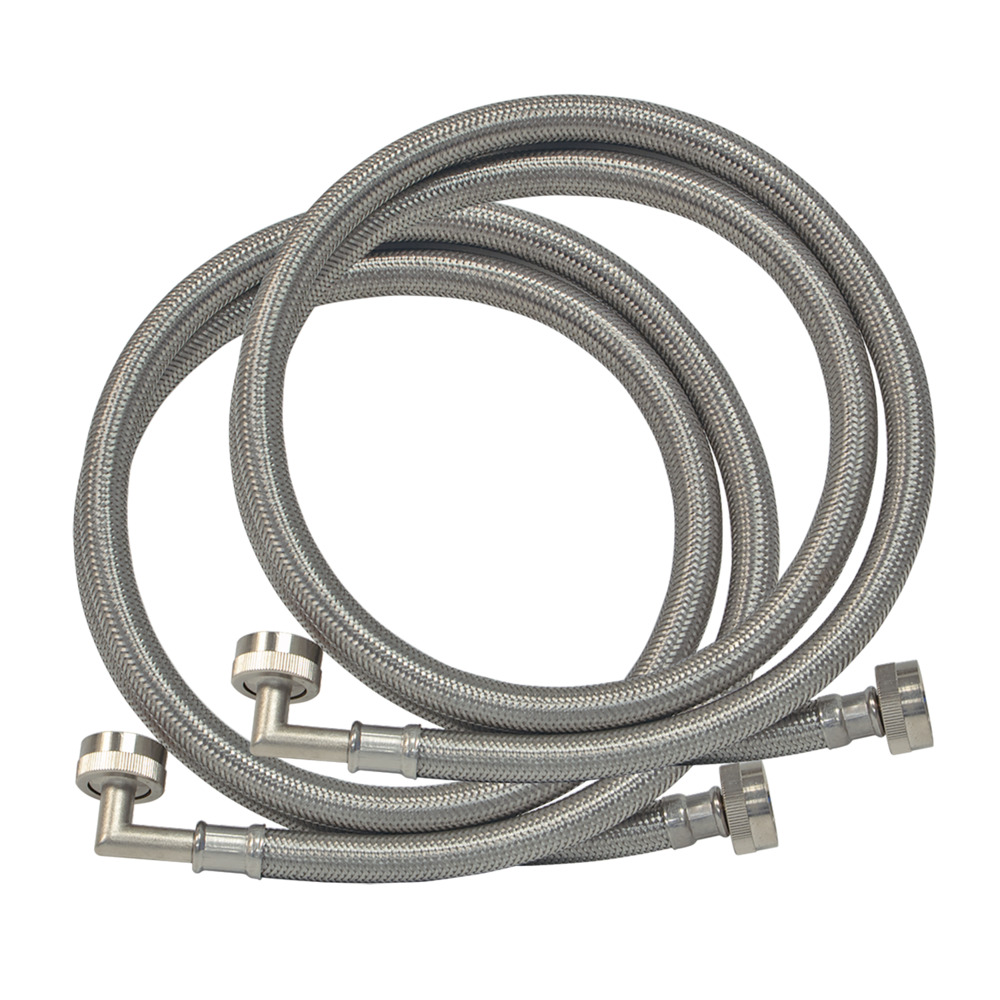4' Braided Stainless Steel Washing Machine Conn. with Elbow - 1 Pair
