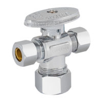 Eastman Dual Outlet Shut-Off Valve - 5/8 in. Comp x 3/8 in. Comp x 3/8 in. Comp Quarter-Turn