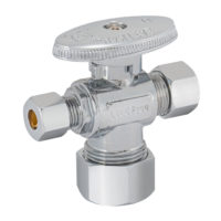 Eastman Dual Outlet Shut-Off Valve - 5/8 in. Comp x 3/8 in. Comp x 1/4 in. Comp 1/4-Turn