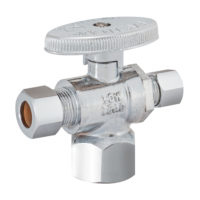 "1/2"" FIP x 3/8"" OD Comp. x 1/4"" OD Comp. ¼ Turn Dual Outlet Stop Valve"