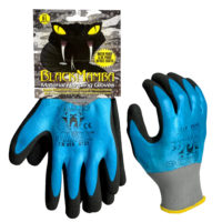 1-Pair Black Mamba Waterproof Reusable Nitrile-Dipped Large Gloves