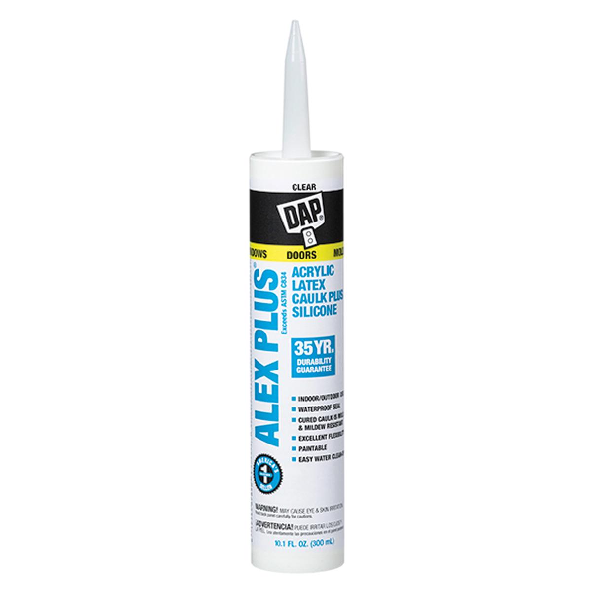 DAP DAP Alex Plus Acrylic Latex Caulk Plus Silicone - Clear 10 oz  - 59158  | Contractor Access
