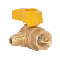"3/8"" Flare x 1/2"" FIP Gas Angle Ball Valve"