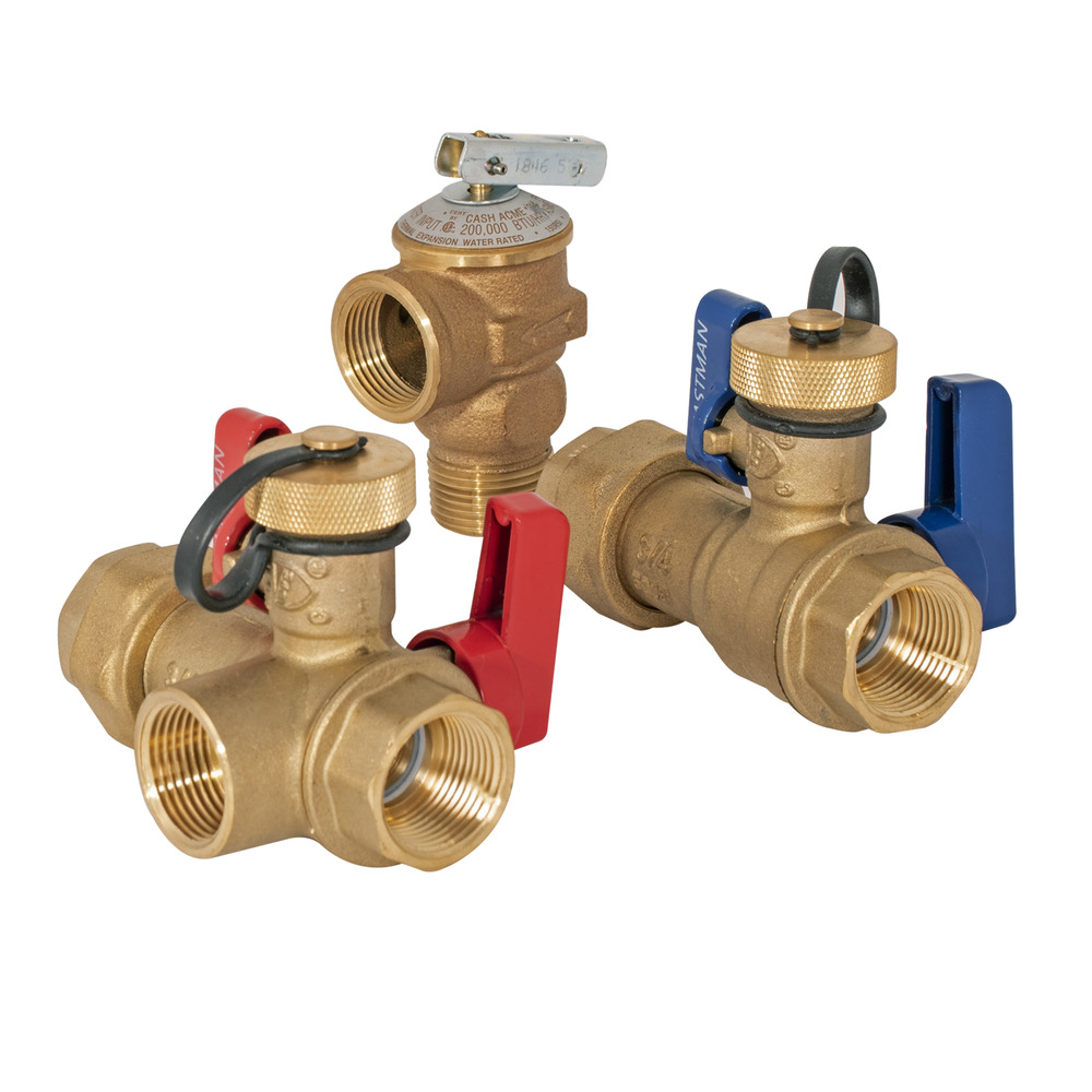 "3/8"" FNPT Union x 3/4"" NPT Tankless Water Heater Service Valve Kit"