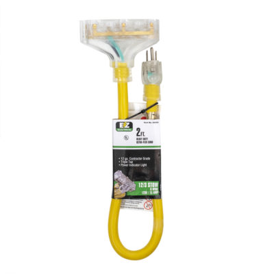 Yellow Triple-Tap Extension Cord Adapter With Indicator Light - 2' Length