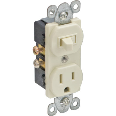 Single Pole Switch And Receptacle  - White