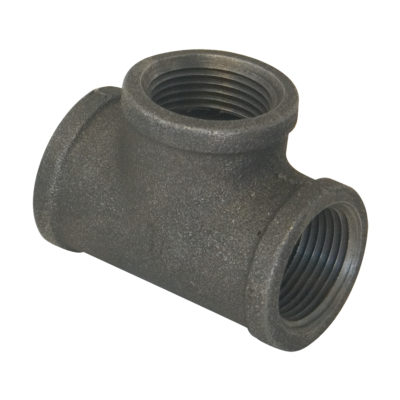 "3/4"" x 1/2"" x 1/2"" Black Malleable Tee"