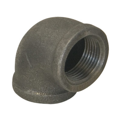 "3/4"" x 1/2"" Black Malleable 90° Elbow"