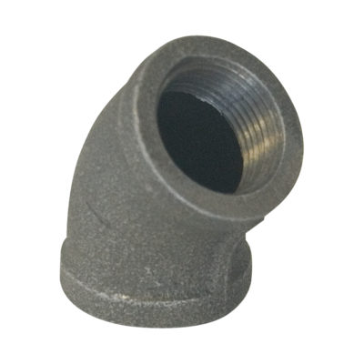 """1-1/4"""" Black Malleable 45° Elbow"""