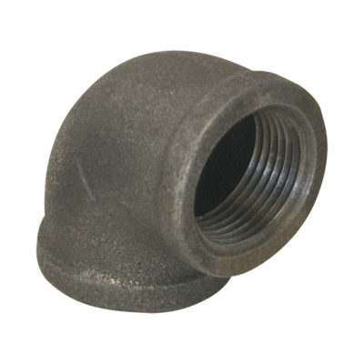 "1-1/2"" x 3/4"" Black Malleable 90° Elbow"