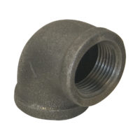 "1-1/2"" x 1-1/4"" Black Malleable 90° Elbow"