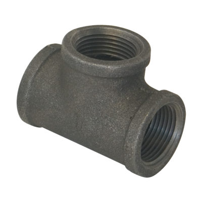 "1-1/4"" x 1-1/4"" x 1/2"" Black Malleable Tee"