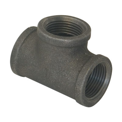 "1-1/2"" x 1-1/4"" x 1"" Black Malleable Tee"