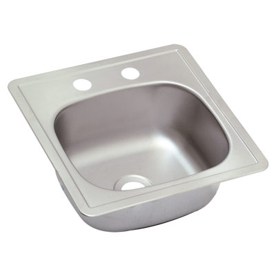 Single Bowl Stainless Steel Bar Sink - 2-Hole