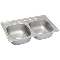 Stainless Steel Double Bowl Sink - 3-Hole