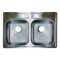 Stainless Steel Double Bowl 3-Hole Sink - 3-Hole