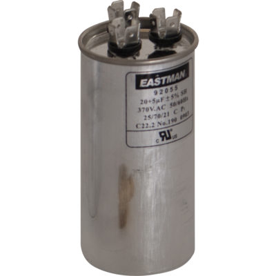 60+7.5 MFD Dual Run Capacitors - Round (370 VAC)