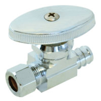 "1/2"" Crimp PEX x 3/8"" OD Comp. Multi-Turn Straight Stop Valve"