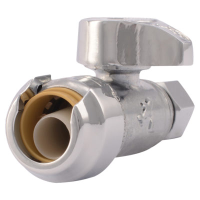 "1/2"" Sharkbite x 3/8"" Comp. ¼ Turn Straight Stop Valve"